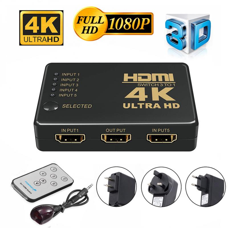 4K HD1080P мини-переключатель HDMI переключатель 1X5 порт HDMI Переключатель Селектор сплиттер с концентратором ИК пульт дистанционного управления ...