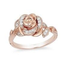 Изысканный розовое золото обручальное цветок кольцо свадьба для новобрачных предлагаю кольца Рождественский подарок годовщина ювелирные изделия для женщин