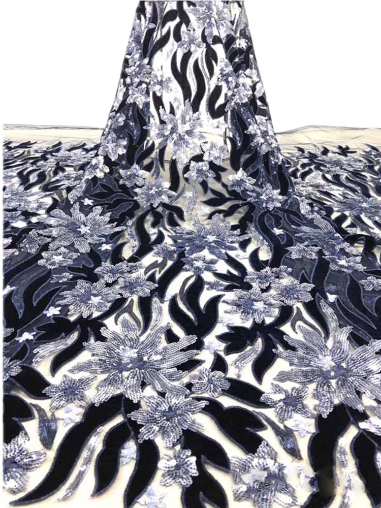 High-end Sequins Blingbling African Lace Fabric French Voile Lace Velvet Embroidered Shiny Tulle Lace Design Wedding Party Dress