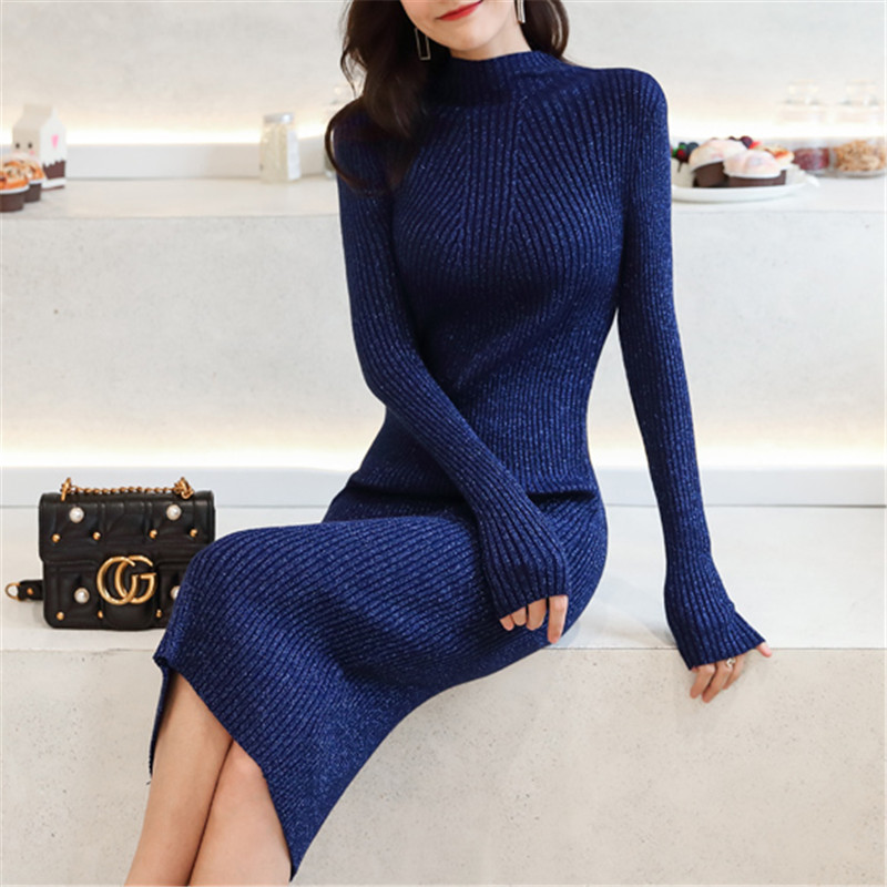 Korean Fashion Sweater Dress Women Knit Sweaters Dresses Elegant Woman Turtleneck Sweater Dress Woman Stretch Sweaters Dresses