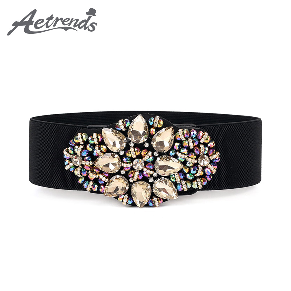 [AETRENDS] Women Crystal Elastic Waist Belts Rhinestone Wide Cinch Belt For Dress D-0118