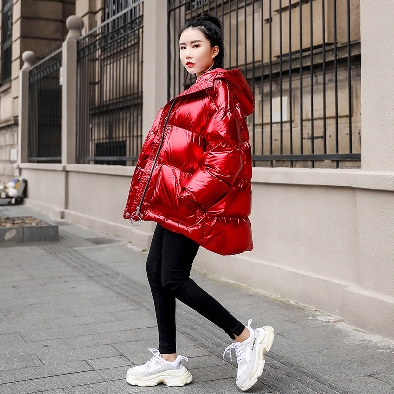 2019 Winter Jacket Women Short red Shiny Cotton Coat Women Female Coat Fashion Hooded Thick Warm Outwear streetwear   parkas   M131