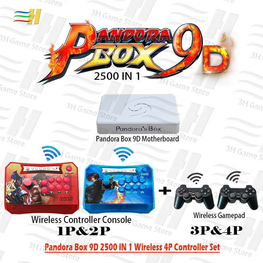 Pandora Box 9D Wireless 4 Players Set 2500 in 1 have 3D game Wireless