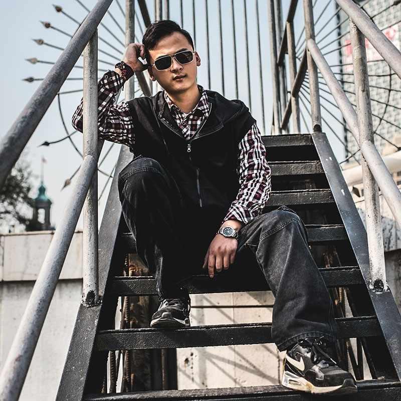 2020 Fashion Casual Plus Size męskie jeansy Cargo z kieszonkowymi workowate spodnie Cargo Denim czarne luźne proste dżinsy dla mężczyzn Streetwear