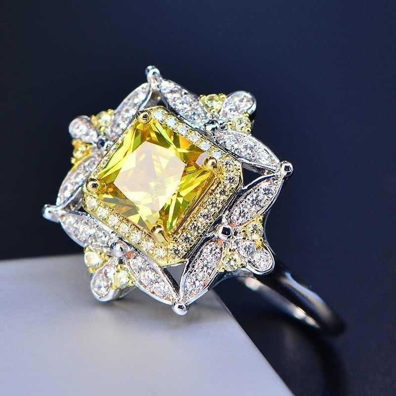 Cpop vintage quadrado amarelo cristal anel de casamento zircão flor prata luxo anel de noivado aniversário jóias acessórios presente