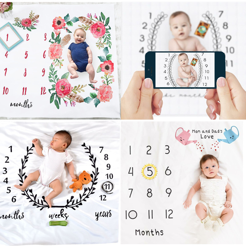Newborn baby Monthly Growth Milestone Blanket photography props Background Cloth Commemorate Rug Mat baby accessories newborn