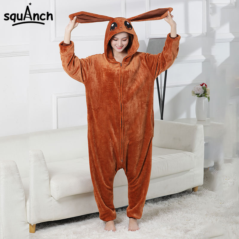 Eevee Onesie  Kigurumis Brown Pajama Women Cute  Kawaii  Sleepwear Adult Winter Overalls Zipper Jumpsuit Anime Warm Homewear