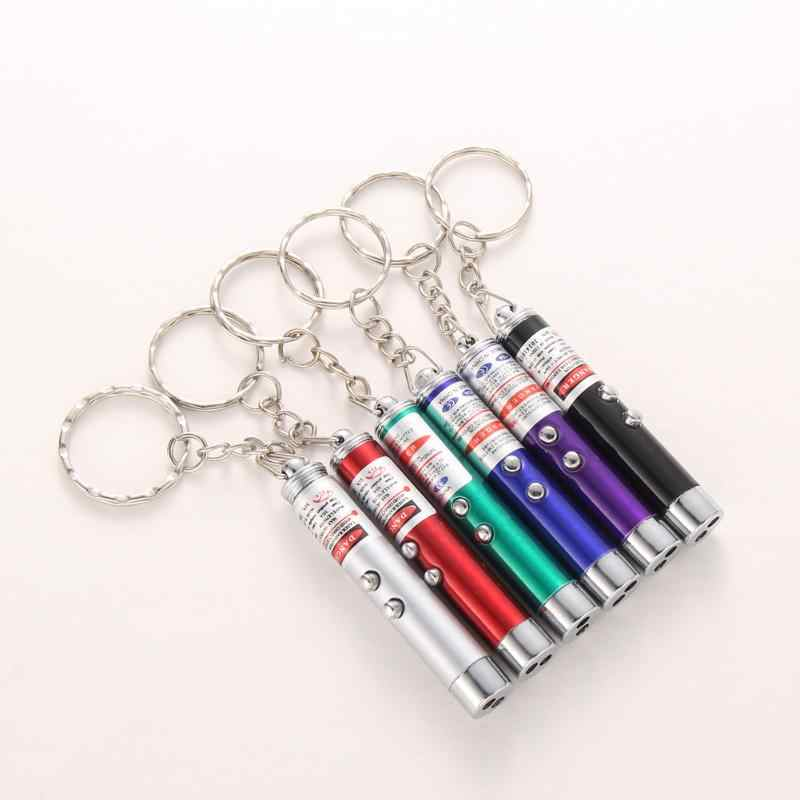 Mini 2in1 Keychain Lighting LED Torch Lamp Red Laser Pointer Pen Pet Toy #JT1
