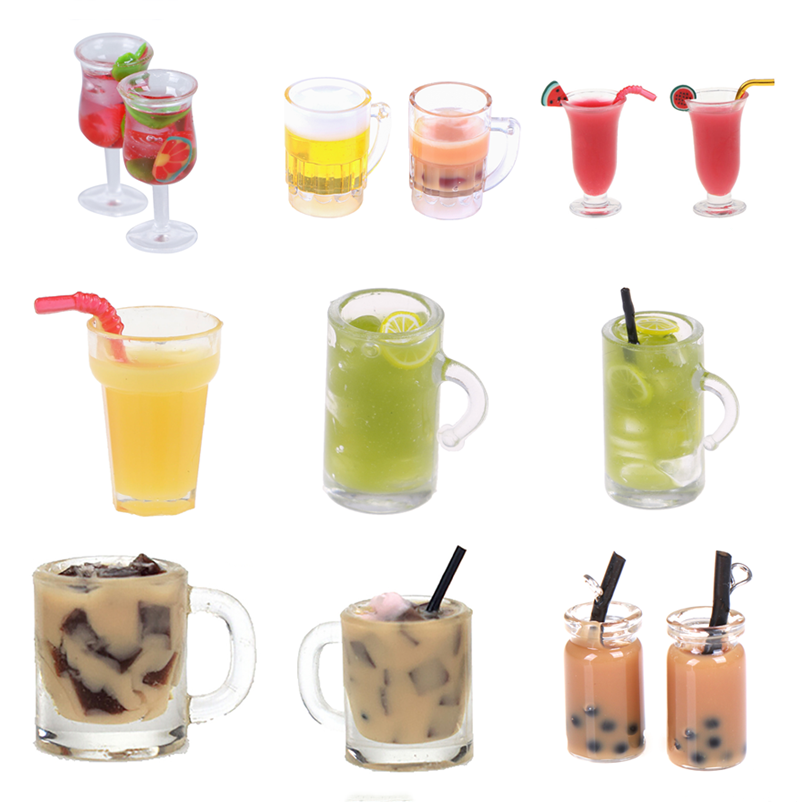 1:12 Doll House Goblet Cocktail Lemon Water Milk Tea Dollhouse Miniature Dollhouse Accessories Colorful Fruit Drinking Cup
