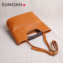 EUMOAN cowhide Leather handmade handbags women 2018 new fashion wild leather shoulder small flap Messenger bag handbag aetoo new fashion handbags wild hand embossed leather handbag women mini small leather bag shoulder messenger bag
