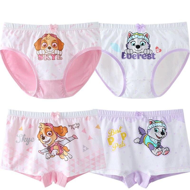 4pcs/lot Paw Patrol Girls Underwear Panties Everest Skye Girls' Briefs Female Child Underwear Girl 95% Cotton Panties Gift