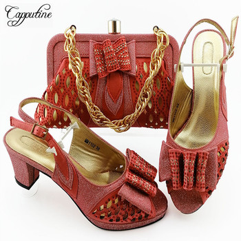 2020 New Arrival  Woman Matching Shoes And Bag Set Italian Decorated With Rhinestone High Heels Shoes And Bag Set For Party