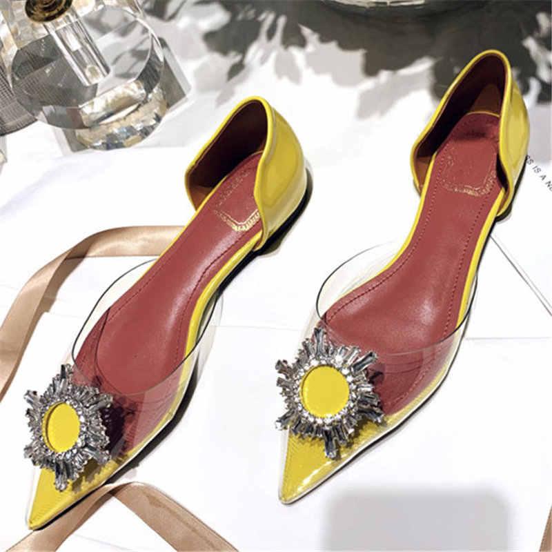 Kristallen Gesp Puntschoen Flats Vrouw Loafers Herfst Luxe Merk Slip op Platte Schoenen Vrouwen Rood Geel Lakleder Sandalen