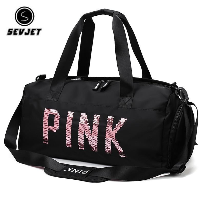2019 Newest Design Sequins PINK Letters Gym Fitness Sports Bag Shoulder Crossbody Bag Women Men Tote Handbag Travel Duffel Bolsa