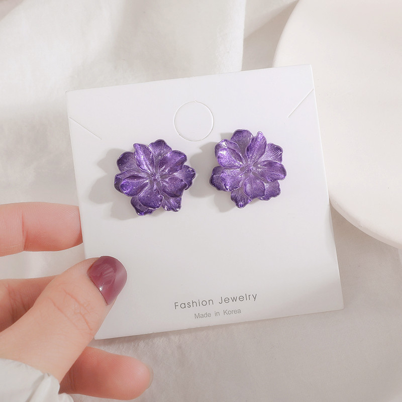 Fashion Other Shore Flower Earrings jewelry Accessories Geometry Resin Purple Simulation Flower Stud Earrings gifts for women