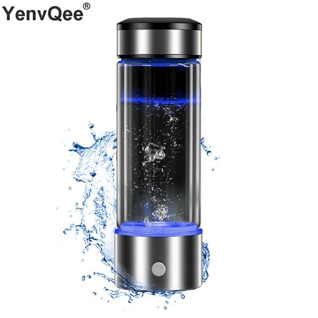 مولد الهيدروجين كوب تصفية المياه 430 مللي صانع القلوية الهيدروجين الغنية زجاجة محمولة المياه Lonizer النقي H2 التحليل الكهربائي