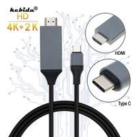 Kebidu 4K HDMI-kompatibel Kabel Typ C auf HDMI Stecker auf Stecker USB 3,1 30Hz HD Verlängern konverter Adapter für Macbook für Samsung