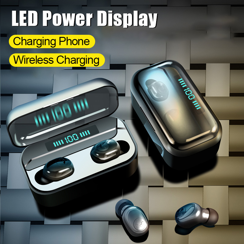 <font><b>8D</b></font> Bluetooth 5.0 <font><b>Earphone</b></font> Wireless Heaphones Stereo Bass Earbuds headsets With Mic 3500mAh Power Wireless Charging Box For Phone image