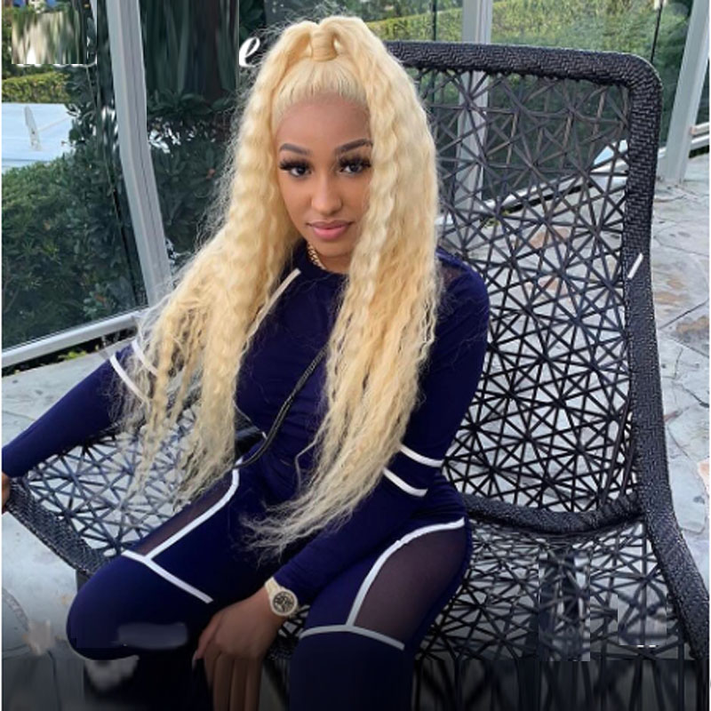 613 Deep Wave Lace Front Human Hair Wigs Malaysian Curly Blonde 13×6Lace Frontal Wigs Long Water Wave Wigs For Black Women