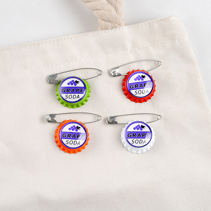 Grape Soda Bottle Caps Pin Carl Japanese Anime Cartoon Movie Badge Jewelry Brooches Denim Shirt Lapel Safe Pins For Kids Gifts 4