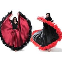 Мода размера плюс, цыганский стиль, женская испанская фламенко, юбка для выступлений, костюмы для танца живота, кружевное платье с оборками, командное представление