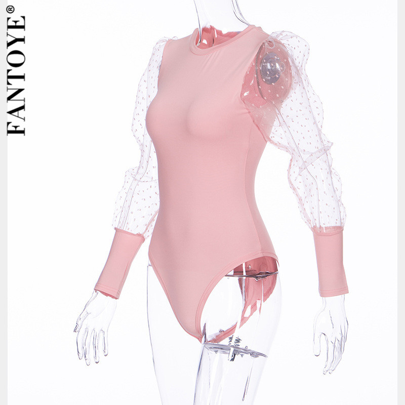 H24070ae545154b0eae3134ec705328e7o - FANTOYE New Lace Puff Sleeve Women's Bodysuit Autumn Long Sleeve Polka Dot Vintage Bodycon Jumpsuit Tops Skinny Mesh Bodysuits