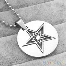 Men Women Fashion Hollow Double Layers Pentagram Pendant Beads Chain Necklace(China)
