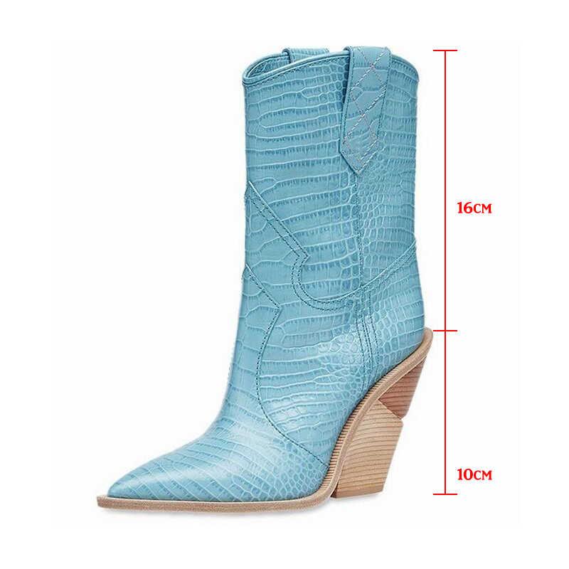 2019 nuevas botas de vaquero de primavera para mujer botas de punta estrecha occidental de cuero PU botas de mujer de media pantorrilla cuñas gruesas botas de pista