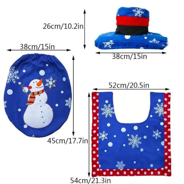 3Pcs/set Christmas Santa Toilet Seat Cover Anti-Slip Bathroom Mat Toliet Rug Christmas Decoration for Home New Year Mat 20
