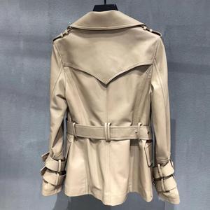 Image 3 - Genuine real leather jacket sheepskin short trench coat women 2019 new fashion double breasted england style windbreaker