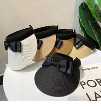2021 New Fashion Summer Ladies Empty Top Bow Straw Visor Elegant Ladies Foldable Top Hat Breathable and UV Resistant