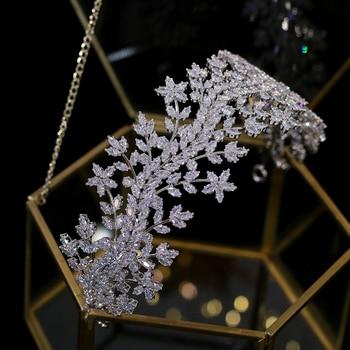New Tiara Bridal Crown Headdress, Crystal Crown 3A Zirconia Elegant Woman Headdress and Party Crown Wedding Hair Accessories