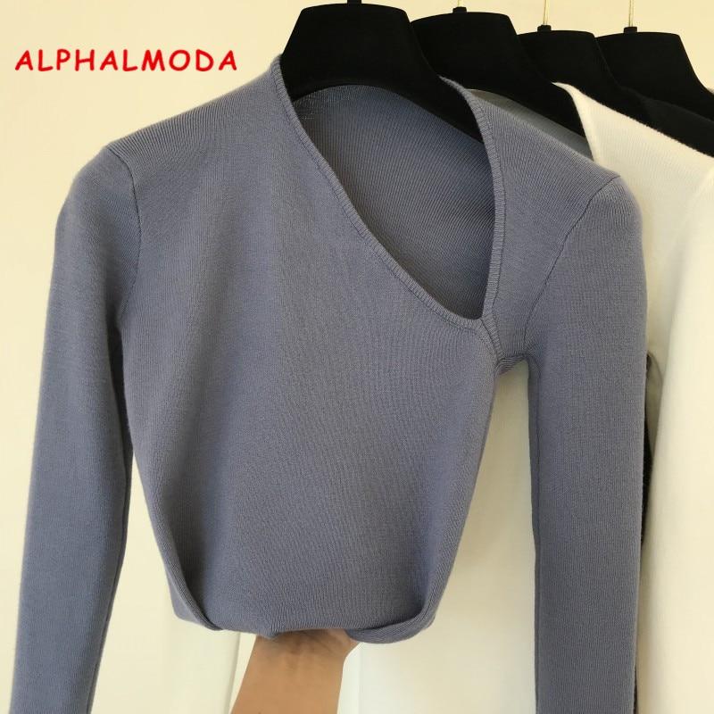 Fall 2019 New Han Fanins Individual Slant-collar Small Design Westernized Core-spun Yarn Slim Top Knitted Sweaters