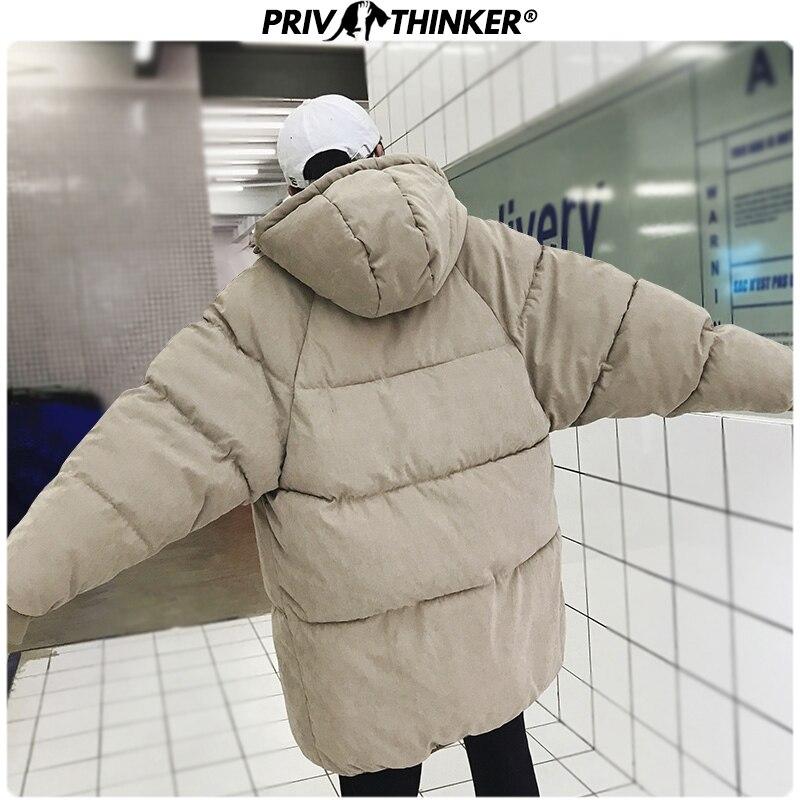 Privathinker 2019 hiver à capuche impression Parka hommes mince coréen longue veste manteau hommes coupe-vent Parkas surdimensionné chaud jeunesse vêtements - 3