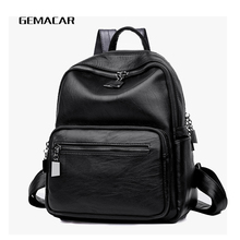 Fashion female backpack PU leather popular wild women bag large capacity long shoulder strap zipper girl  backpack casual travel casual double zipper women backpack drawstring pu leather bagpack large capacity travel bag female rucksack shoulder bag mochila