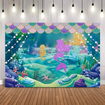 Mermaid birthday backdrop under the sea background for photo studio little mermaid princess party decoration photocall