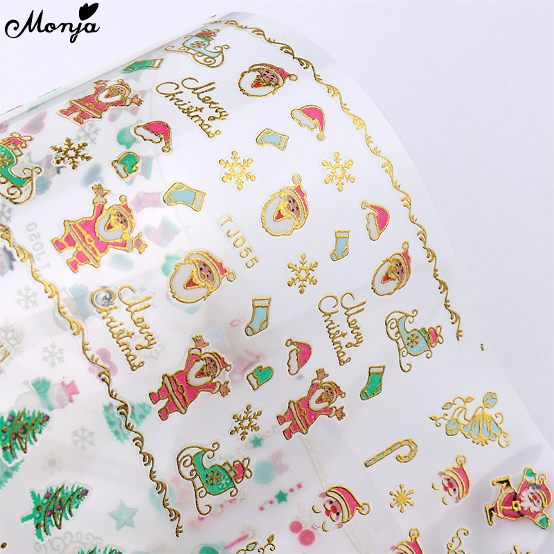 Monja 12Styles/Sheet Nail Art Christmas Sticker Winter Xmas Santa Claus DIY Nail Self-Adhesive Decals Manicure Decoration