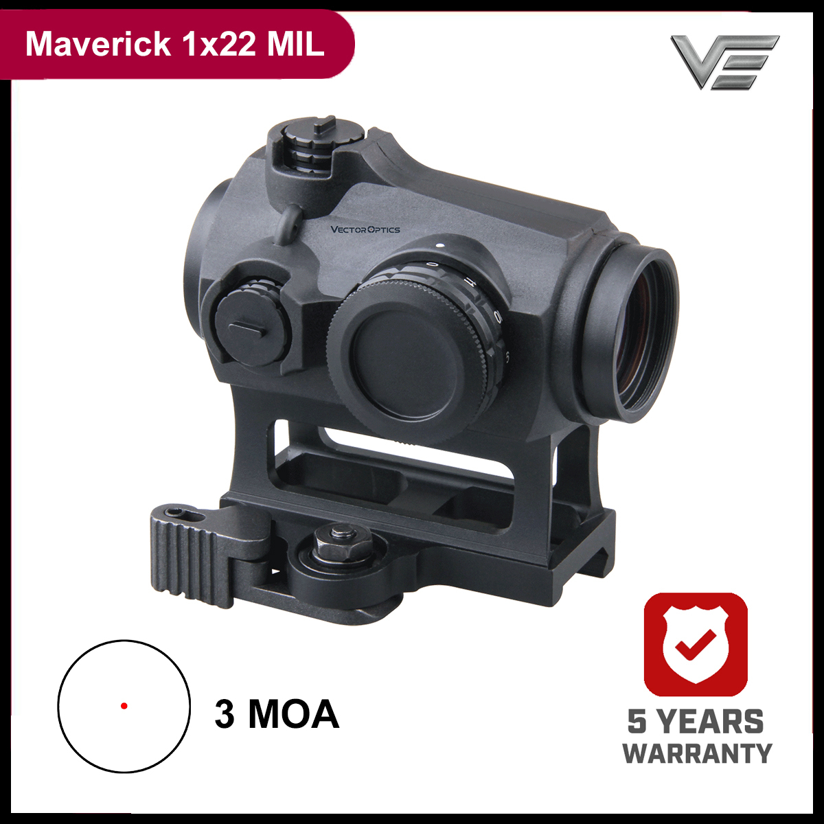 Vector Optics Maverick 1x22 MIL 3MOA Red Dot Sigh Hunting Scope Optic IPX6 Water Proof Rubber Armed For .308 7.62 .45 ACP