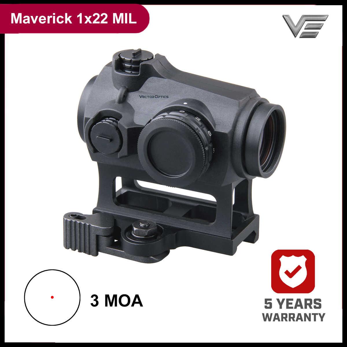 Vector Optics Maverick 1x22 MIL 3MOA punto rojo Sigh caza alcance óptico IPX6 caucho impermeable armado para. 308 7,62. 45 ACP