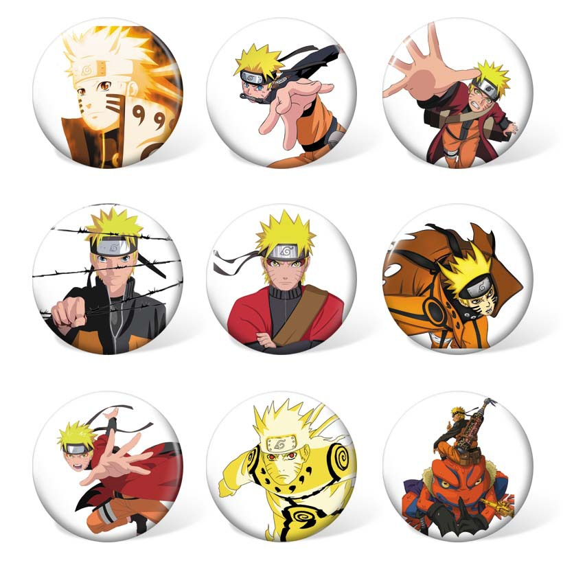 9pcs/lot Anime Naruto Cosplay Badge Holder Cartoon Collection Badges For Backpacks