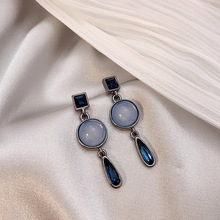 light luxury  modern blue old crystal earrings baroque small design simple earring indian jewelry women