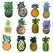 Peculiar Fruit Pineapple Iron on Patch for Clothing DIY Embroidery Stripe Clothes Sequin Applique Badge Cloth Fabric