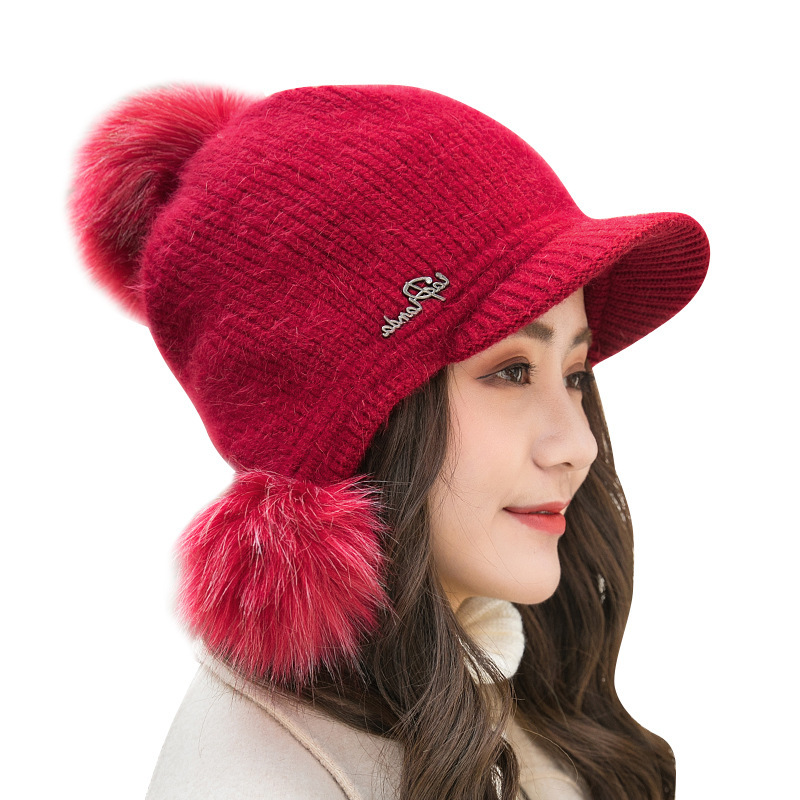 Brand Winter Rabbit Knitted Beanies Hats Women Thick Warm Skullies Hat Female Knit Letter Bonnet Beanie Caps Outdoor Riding Hats