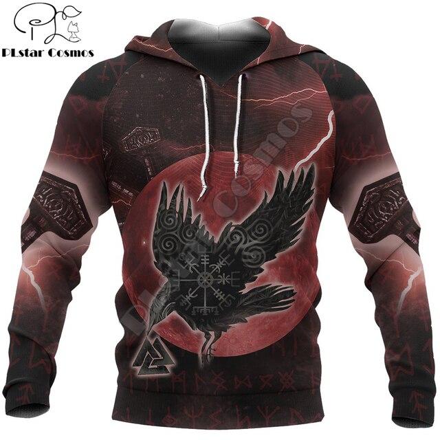 Фото viking пуловер с капюшоном ворон один рун 3d печатные мужские