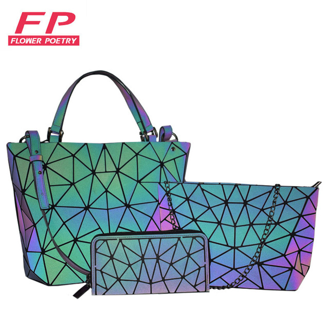 women handbags 3 pcs bag set luminous crossbody bags for women wallet 2019 Geometric shoulder bag female purse and handbag Tote | HOTSHOPDIRECT