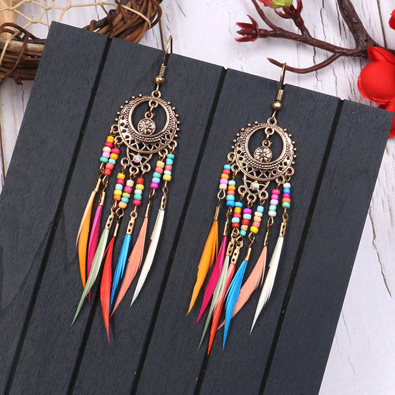 2020 Golden Silver Color Ethnic Acrylic Rainbow Beads Feather Drop Earrings for Women Wedding Earrings Boho Jewelry Wholesale