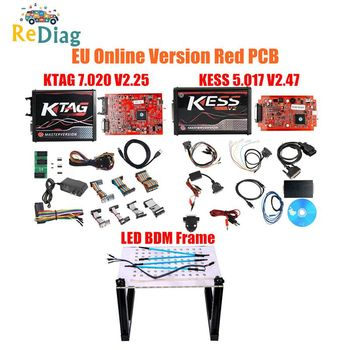 Newly Ktag K-TAG V7.020 KESS V2 V5.017 SW V2.23 v2.47 2.47 Master ECU Chip Tuning Tool K-TAG 7.020 with BDM Frame Probe 22pcs