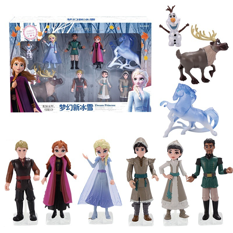 Disney Frozen 2 Anna Elsa Snow Queen Olaf Kristoff Sven Anime Dolls Action Figure  Children Toy Set Kids Birthday Gifts Gift