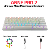 Anne Pro 2 Mini Portable 60% Mechanical Keyboard Wireless Bluetooth 5.0 Dual Mode Wired Rgb Backlit Cherry Gateron Kailh Mx
