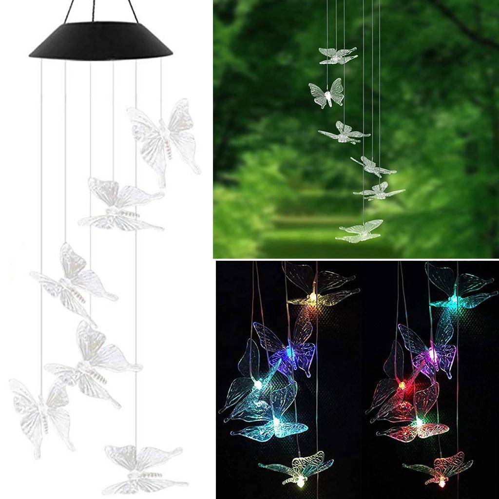 Solar Wind Chime Light Transparent Butterfly Led Solar Powered Butterfly Wind Chimes Light Home Garden Hanging Lamp Decor Solar Lamps Aliexpress